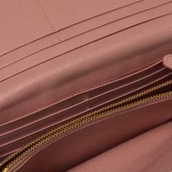 Prada Blush Pink Saffiano Leather Metal Detail Continental Wallet