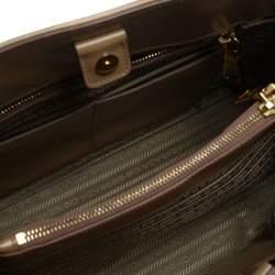 Prada Brown Saffiano Lux Patent Leather Open Promenade Satchel