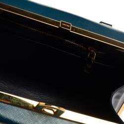 Prada Two Tone Blue Saffiano Vernice Leather Pyramid Frame Satchel