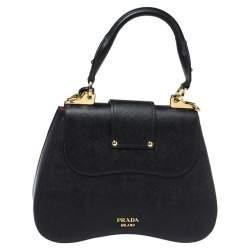 Prada Black Saffiano Lux Leather Medium Sidonie Top Handle Bag