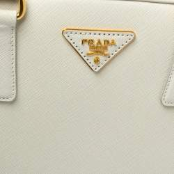 Prada Off White Saffiano Lux Leather Pyramid Frame Satchel