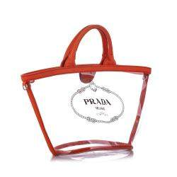 Prada Transparent Leather trimmed PVC Canapa Satchel Bag