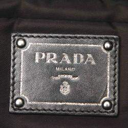 Prada Navy Green/Black Reversible Tessuto Double Tote Bag