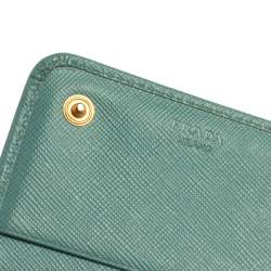 Prada Sea Green Saffiano Lux Leather Continental Flap Wallet