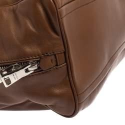 Prada Brown Soft Leather Medium Inside Satchel