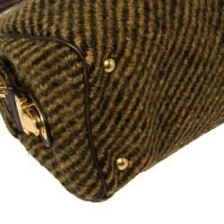 Prada Mustard/Brown Wool and Leather Bauletto Bowler Bag