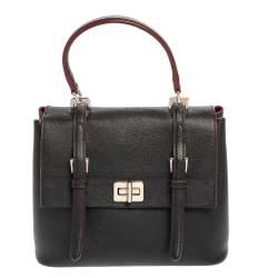 Prada Black Saffiano Lux Leather Turn Lock Top Handle Bag