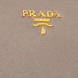 Prada Beige Saffiano Leather Zip Around Continental Wallet
