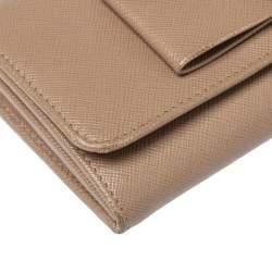 Prada Beige Saffiano Leather Bow Continental Wallet