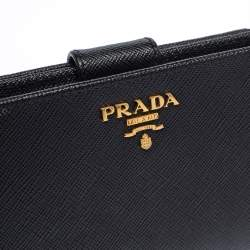 Prada Black Saffiano Leather Wallet French Flap Wallet