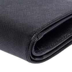 Prada Black Saffiano Leather Wallet French Flap Wallet