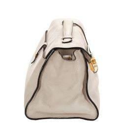 Prada White Vitello Daino Leather Sound Satchel Bag