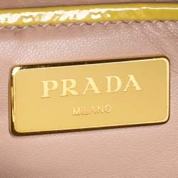 Prada Two Tone Yellow Saffiano Vernice Leather Pyramid Frame Satchel