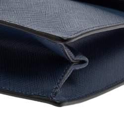 Prada Blue Saffiano Leather Mini Sound Top Handle Bag