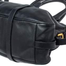 Prada Black Soft Leather Medium Belted Satchel