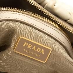 Prada White Gathered Leather Satchel