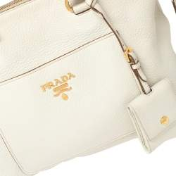 Prada Off White Vitello Daino Leather Front Pocket Satchel