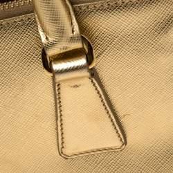 Prada Metallic Gold Saffiano Lux Leather Small Double Zip Tote