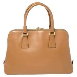 Prada Brown Saffiano Leather Promenade Satchel