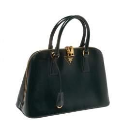 Prada Dark Green Saffiano Lux Patent Leather Medium Promenade Tote