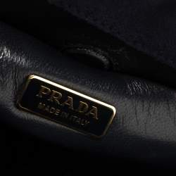 Prada Navy Blue Velvet Frame Top Handle Bag