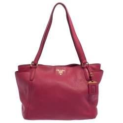 Prada Pink Vitello Daino Leather Side Pocket Tote