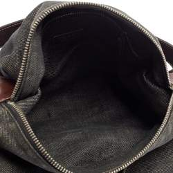 Prada Black Denim and Leather Zip Hobo