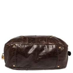 Prada Dark Brown Vitello Shine Leather Bowler Bag