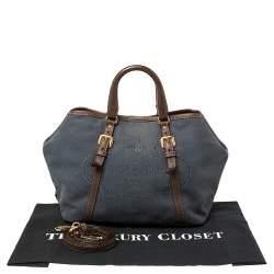 Prada Blue/Brown Denim and Leather Logo Tote