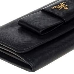 Prada Black Saffiano Leather Bow Continental Wallet
