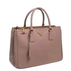 Prada Pink Saffiano Lux Leather Double Zip Galleria bag