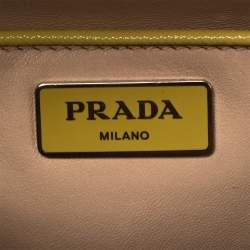 Prada Yellow Saffiano Lux Leather Crystal Embellished Pyramid Frame Satchel
