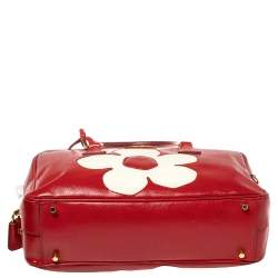 Prada Red/White Vernice Saffiano Patent Leather Flower Bauletto Bag
