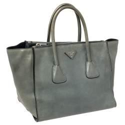 Prada Grey Saffiano Lux Leather Twin Pocket Tote