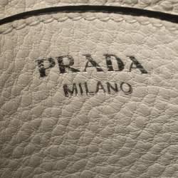 Prada White Leather Double Zip Crossbody Bag