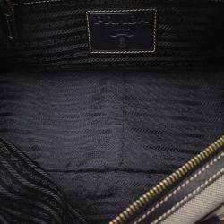 Prada Grey Canvas Canapa Shoulder Bag