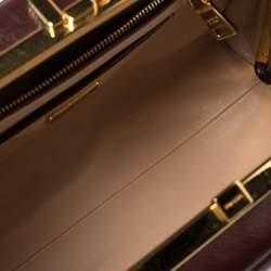 Prada Burgundy Saffiano Vernice Leather Pyramid Frame Satchel