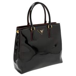 Prada Black/Red Patent Leather Parabole Tote