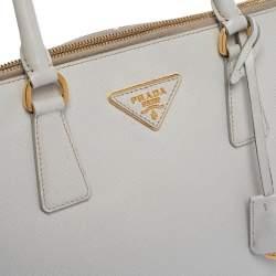 Prada White Saffiano Lux Leather Dome Satchel