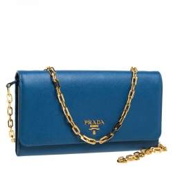 Prada Blue Saffiano Lux Leather Wallet on Chain