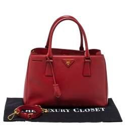 Prada Red Saffiano Lux Leather Medium Middle Zip Tote