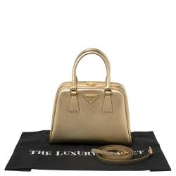 Prada Gold Saffiano Lux Leather Pyramid Frame Satchel