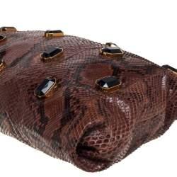 Prada Brown Python Jewel Embellished Shoulder Bag
