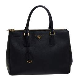 Prada Black Saffiano Lux Leather Medium Double Zip Tote