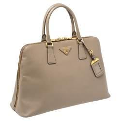 Prada Argilla Saffiano Lux Leather Promenade Satchel