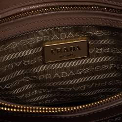 Prada Beige Saffiano Lux Patent Leather Small Promenade Bag