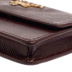 Prada Burgundy Saffiano Lux Leather Business Card Holder