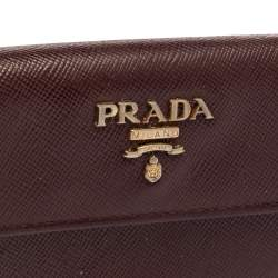 Prada Burgundy Saffiano Lux Leather Business Card Holder