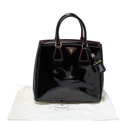 حقيبة يد برادا بارابول جلد لامع أسود