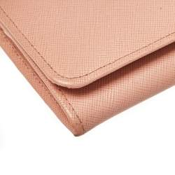 Prada Pink Saffiano Leather Flap Continental Wallet